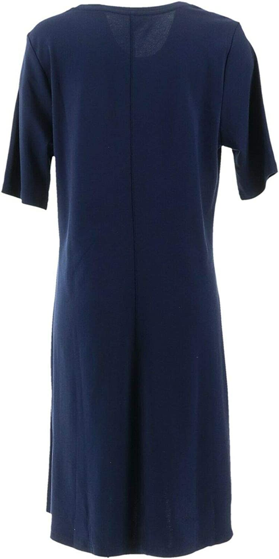 Isaac Mizrahi Essentials Pima Cotton Elbow-Slv Dress Dark Navy M NEW A351507