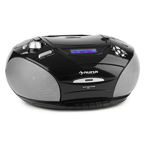 auna RCD220 Boombox mit CD-Player USB-MP3-Player Kasettendeck UKW-Radio mobile Stereoanlage (2x2W RMS Leistung, LCD-Display, AUX-Eingang, Kopfhöreranschluss, Tragegriff, Netz- & Akku-Betrieb) schwarz