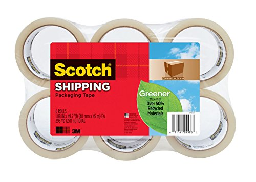 Scotch 1.88-Inch x 49.2 Yard Greener Commercial Grade Shipping Packaging Tape, 6 Pack (3750G-6)