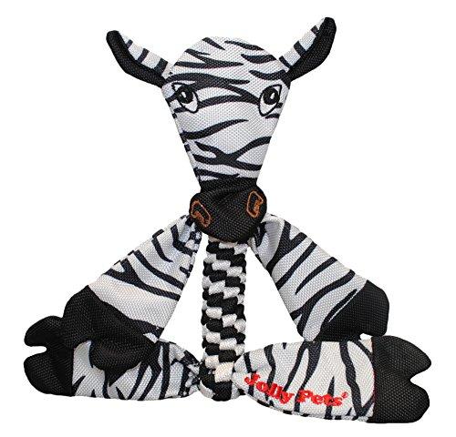 Image of Jolly Pets Zebra Animal Flathead Tug/Squeak Toy, Small