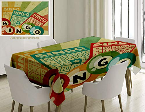 Unique Custom Cotton and Linen Blend Tablecloth Vintage Decor Bingo Game with Ball and Cards Pop Art Stylized Lottery Hobby Celebration ThemeTablecovers for Rectangle Tables, 78 x 54 inches -