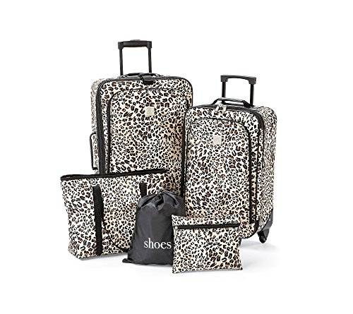 TravelQuarters Tan Leopard 5-pc.Luggage (5 Piece Expandable Luggage Set)