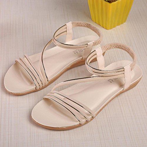 Fullkang Femmes Chaussures Plates Mode Bohème Loisirs Lady Sandales Chaussures Dextérieur Beige