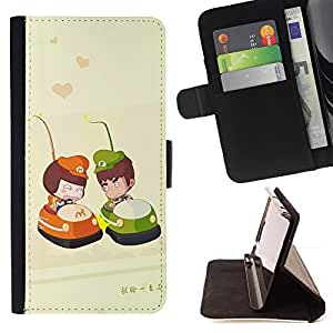 For Samsung Galaxy Note 3 III - Cute Bumper Couple /Funda de piel cubierta de la carpeta Foilo con cierre magn???¡¯????tico/ - Super Marley Shop -