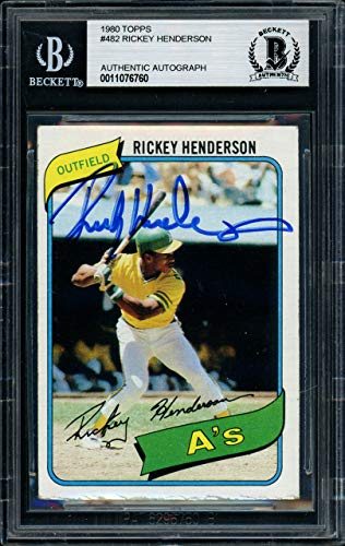 Rickey Henderson Autographed 1980 Topps Rookie Card #482 Oakland A's Beckett BAS #11076760