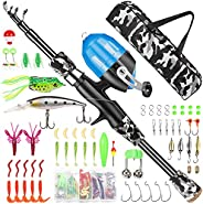 Annleor Kids Fishing Pole - Telescopic Fishing Rod and Reel Combo Kit - Fishing Gear, Fishing Lures, Carry On