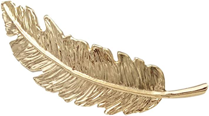 Hot Women Silver Gold Feather Leaf Hairpin Barrette Bobby Hair Clip Jewelry Gift