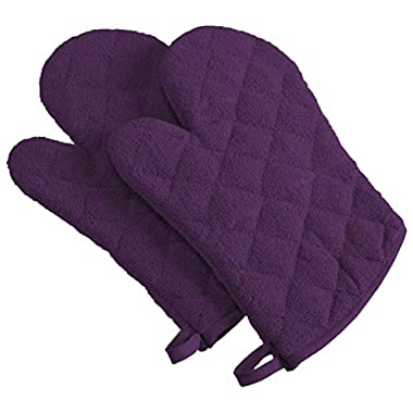 DII 100% Cotton, Machine Washable, Heat Resistant, Everyday Kitchen Basic, Terry Oven Mitt, 7 x 13 , Set of 2, Eggplant