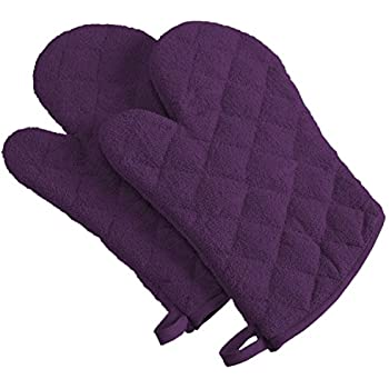 DII 100% Cotton, Terry Oven Mitt Set Machine Washable, Heat Resistant, 7 x 13, Eggplant, 2 Piece