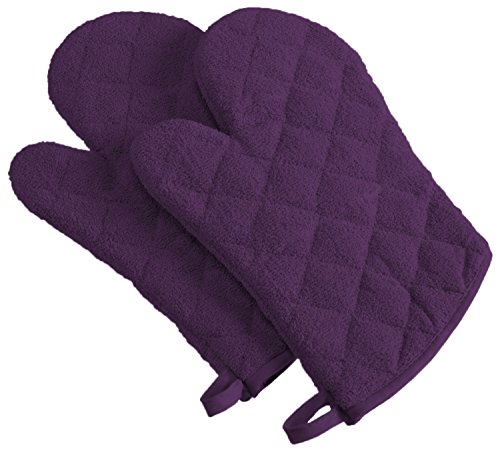 DII 100% Cotton, Machine Washable, Everyday Kitchen Basic Terry Ovenmitt Set of 2, Eggplant ()