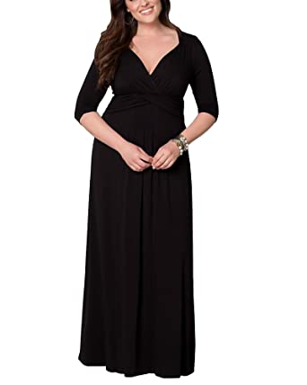 Plus Size Prom Dresses Deep V-Neck Maxi Wrap Dress with Sleeve for Women Black