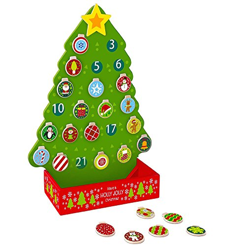 Pidoko Kids Countdown to Christmas Advent Calendar Tree - Wooden Toy Set with Magnetic Ornaments and a Shining Star (26 Pcs) ()