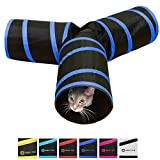 Purrfect Feline Tunnel of Fun, Collapsible 3-way Cat Tunnel Toy with Crinkle (Medium, Dark Blue)