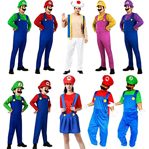 Wall of Dragon costumes for adults and luigi bros halloween costumes women sexy kids men overalls cosplay kid child gril -