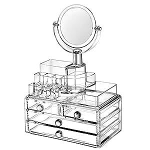SCFL Organizador de pintalabios y maquillaje, joyas o cosméticos, acrílico transparente, expositor para productos de belleza, con espejo y organizador de pintalabios, joyas y maquillaje, caja expositora para organizar maquillaje y accesorios, caja con espejo de 24 x 15 x 36,50 cm