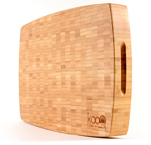 HIGH-END Extra Large Bamboo Cutting Board with Feet by KOOQ - THE MOST SOPHISTICATED, THICK Chopping and Butcher's Block, Beautiful Cheese Board, perfect as Serving Board too! - (18