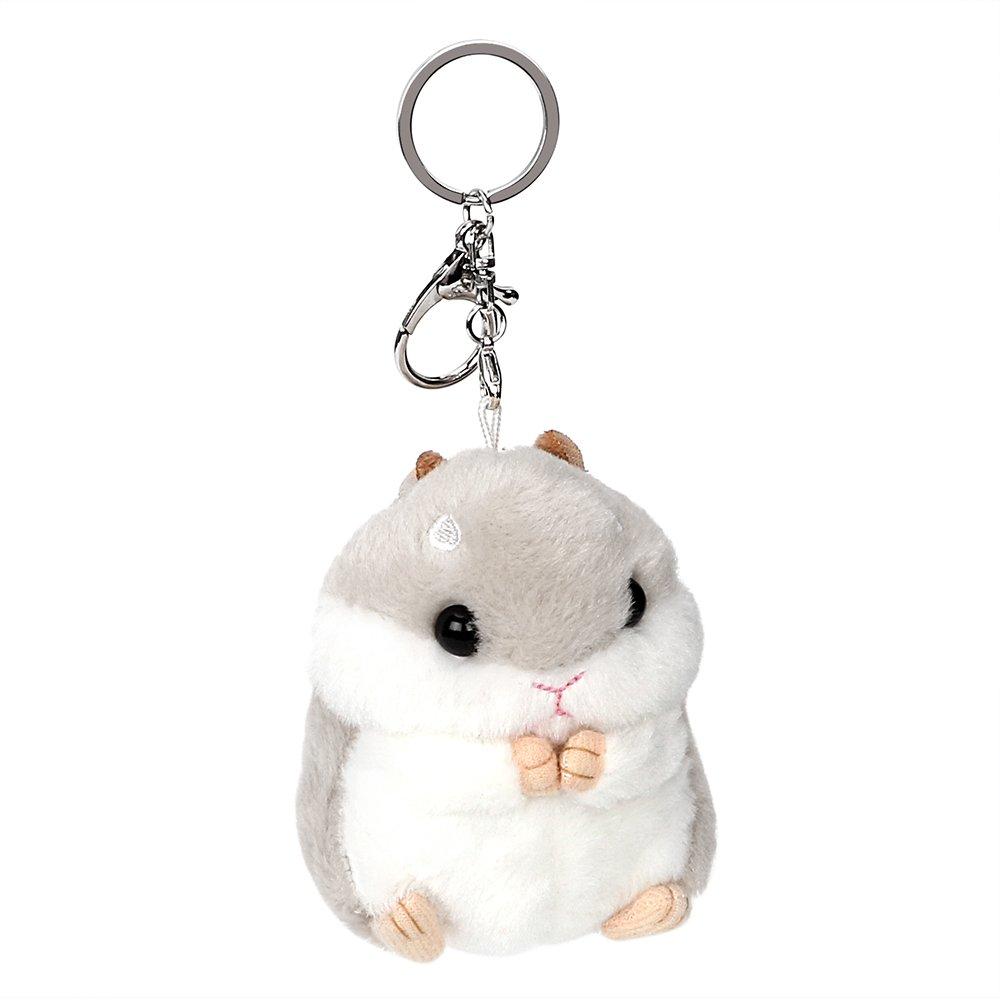 NOPNOG Voiture Porte-clés mignon en peluche Hamster Pendentif Décoration Porte-clés Sac à main Ornement Porte-clés Gris
