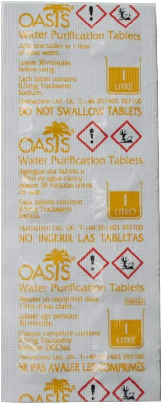 Treats 10,000 Litres EVAQ8 Oasis 167mg Emergency Water Purification Tablets 500 Tablets