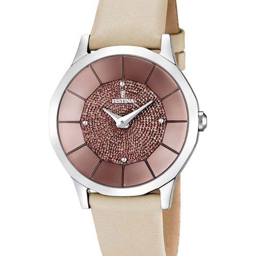 Festina F16661/3 - Reloj analógico de cuarzo para mujer con correa de piel, color beige: Festina: Amazon.es: Relojes