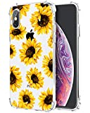 Flower Clear Case for iPhone Xs iPhone X, Sunflower Girls and Women Floral Back Cover, Flexible TPU Bumper Shockproof Transparent Protective Case
