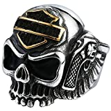 Men's Vintage Gothic Stainless Steel Rings Skull Wings Motorcycle Biker Rings Gold Size 9