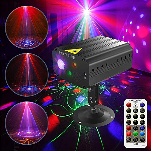 - Ezire LED Disco DJ Laser Party Lights Projector Red Green Blue Laser with 36 Patterns Stage Light Mini LED Strobe Sound Activated Lights for Family Party DJ Disco Music Show Bar Holiday