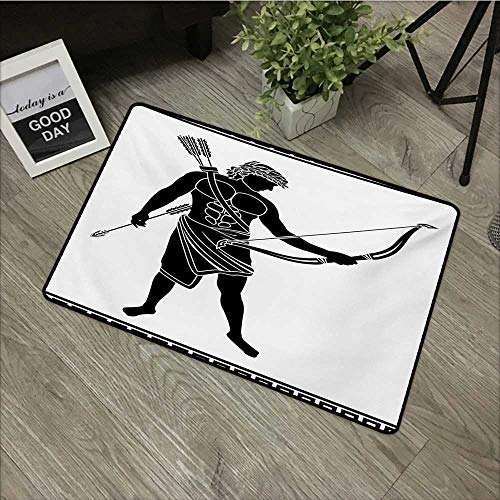 "Anzhutwelve Toga Party,Funny doormats Hellenic Bowman Silhouette Eros Fantasy Gladiator Old Mediterranean Print W 31"" x L 47"" Carpet Kids Room Rugs Black and White"