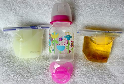 Reborn Sealed Flower Lady Bug Bottle Bag Fake Formula Milk & Apple Juice with Matching Modified Putty Pacifier Baby OOAK Doll Girl - 4 PC Set