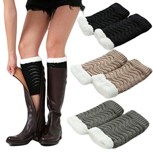 Women Winter Faux Fur Boot Cuffs Cover Crochet Knitting Short Leg Warmers 3 Pack (F)