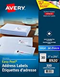 "Avery Address Labels with Easy Peel for Inkjet Printers, 1"" x 2-5/8"", White, Rectangle, 300 Labels, Permanent (8920) Made in Canada"