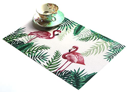 JEANNE PINK Table Mats Placemats Set of 4, Washable PVC Dining Place Mats Heat Resistant Kitchen Mats (Lovely Bird Print)