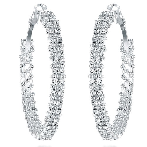 Gemini Women's Silver Plated Swarovski Crystal Big Large Round Hoop Earring, Size 2 inches, Color Silver