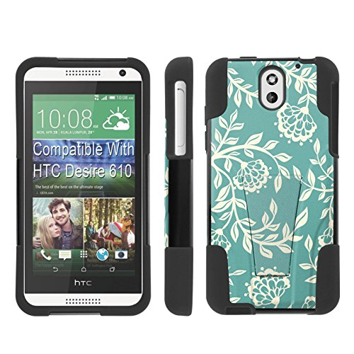 [ArmorXtreme] Case for HTC Desire 610 [Black/Black] [Hybrid Armor KickStand Dual Layer Protection Case] - [Teal Floral - Htc 610 Cases For Desire Teal