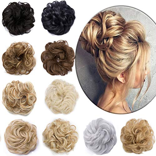 Wavy Hair Bun Extensions Synthetic Donut Hair Chignons 2 Pieces Updo Elastic Bride Bun Ponytail Scrunchy Hairpiece Wig Accessory for Women 90g Jet Black