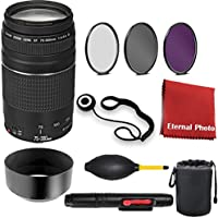 Canon EF 75-300mm f/4-5.6 III Telephoto Zoom Lens for Canon SLR Cameras with 3 Peice Filter Kit, Blower, Pen, Case, Cap Keeper, and Cleaning Cloth