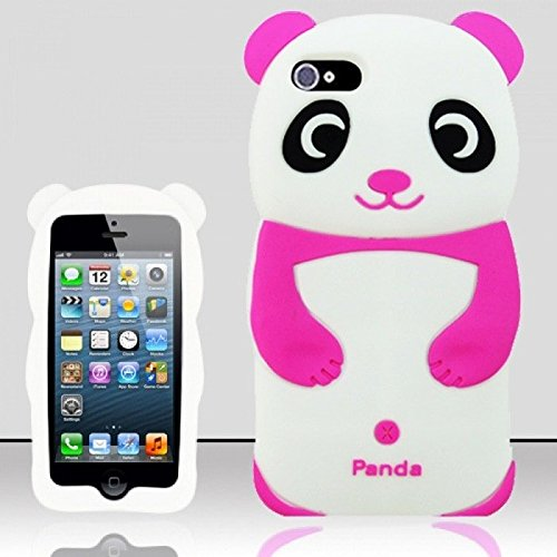 [FAST SHIP USA!] Cartoon 3D Soft Silicone iPhone 5 Cute Panda Case Cover For iPhone 5/5S/5SE (Pink (Cute Girl Cartoon Characters)