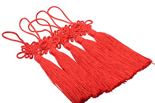 KONMAY 10pcs Red Handmade Silky Large Size(6.4'') Tassels with Satin Silk Made Chinese Knots (Handmade Tassels)