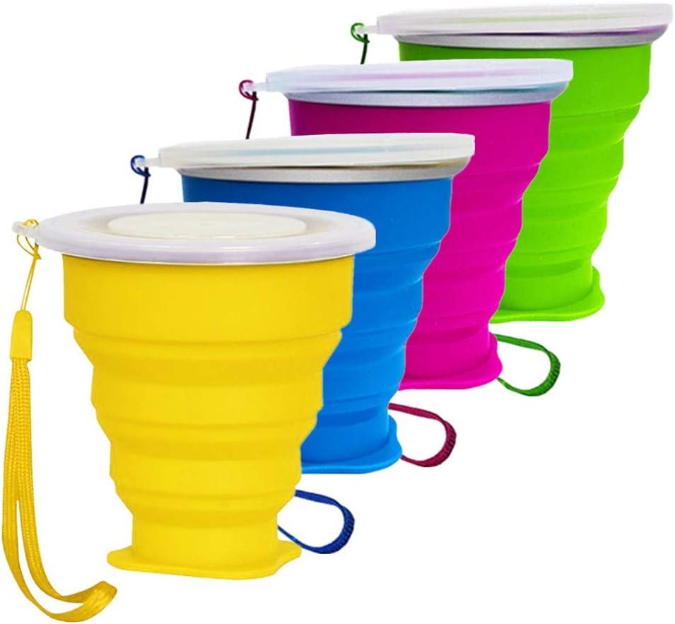 Vaso Plegable sin BPA Tazas de Café de Silicona Con tapa Copa de Viaje Portátil Para Senderismo Exterior Cámping Deportes (4 Pack)