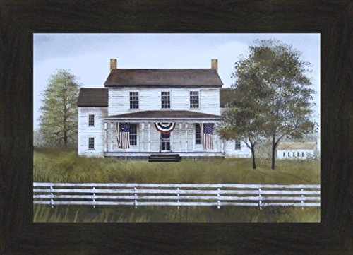 My American Home by Billy Jacobs 16x22 Patriotic Flag Red White Blue Farmhouse Primitive Folk Art Framed Picture (2