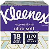 Kleenex Expressions Facial Tissues, Cube Box, 65 Tissues per Box, 18 Pack (1,170 Tissues Total)