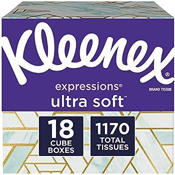 Kleenex Expressions Ultra Soft Facial Tissues, 18 Cube Boxes, 65 Tissues per Box (1,170 TissuesTotal)