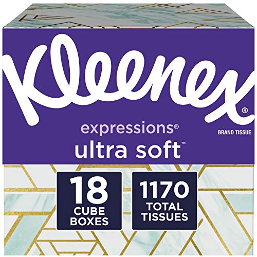 Facial Tissue White - Kleenex Expressions Ultra Soft Facial Tissues, 18 Cube Boxes, 65 Tissues per Box (1,170 Tissues Total)