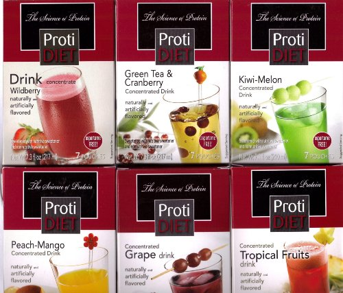 Concentrated Drink (Protidiet Drink Concentrate Juice Variety Package: Peach/Mango, Wildberry, Grape, Kiwi/Melon, Green Tea/Cranberry, and Tropical Fruits (42 Pouches in Total))