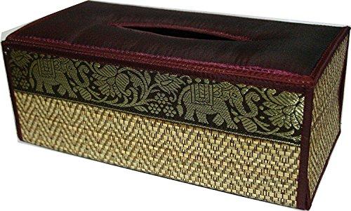 Handmade Thai Woven Straw Reed Rectangular Tissue Box Cover with Silk Elephant Design 5x3.7x10.2 Inch