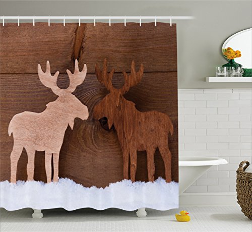 Wide Moose (Moose Shower Curtain by Lunarable, Timber Elk Figure in Different Tones Romantic Noel Time Romance Joy Vintage Style, Fabric Bathroom Decor Set with Hooks, 105 Inches Extra Wide, Brown and Tan)