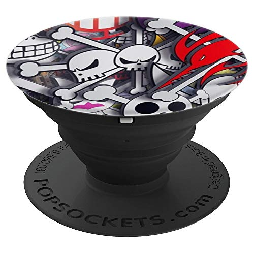 Halloween Pattern Cartoon Skull Crossbones Skeleton - PopSockets Grip and Stand for Phones and Tablets -
