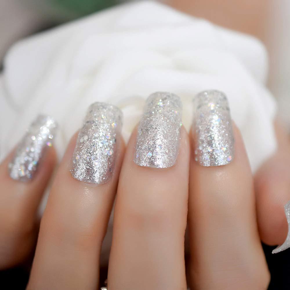 EchiQ Holo Chameleon - Juego de 24 uñas postizas con purpurina para uñas postizas, color plateado: Amazon.es: Belleza
