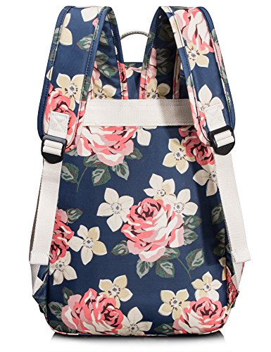 Leaper Floral Water-resistant Laptop Backpack College Bags Daypack Dark Blue by Leaper (Image #5)