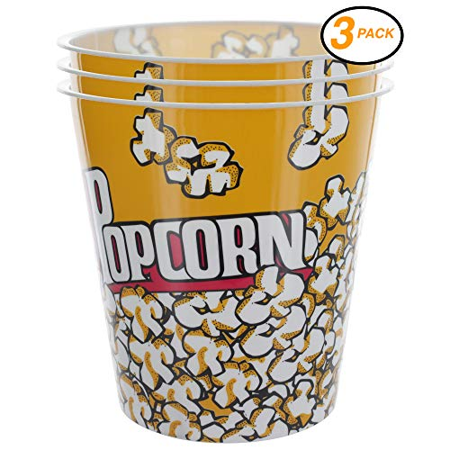Ram-Pro Popcorn Bucket Cup, Yellow & Red Retro Style Plastic Popcorn Tubs Movie Theater Bucket Classic Popcorn Containers for Movie Night (3-Pack) (Set Popcorn Gift Bowl)