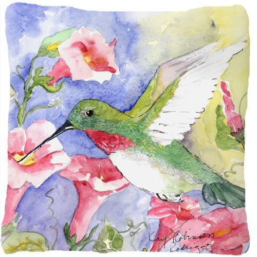 Caroline's Treasures KR9014PW1414 Bird Hummingbird Canvas Fabric Decorative Pillow, Large, Multicolor (Garden Treasures Hummingbird)